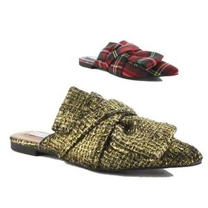 Shoes - ️5Slip on Mules Red Tartan & Gold Colors